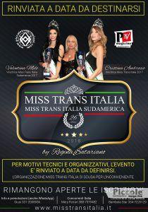 Miss Trans Italia e Sudamerica 2018 Rinviato