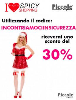 Natale Donna Costume Rosso Con Paillettes Sexy Miss Santa - Music Legs