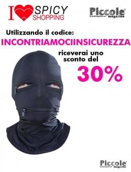 Maschera BDSM Cappuccio con Cerniera Nero - Pipedream