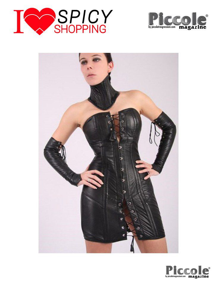 Abito Corsetto In Pelle Nero by Your Fetish World