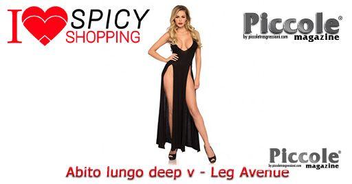 Abito Lungo Nero Deep-V Dual Slit Jersey Maxi Dress - Leg Avenue
