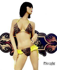 Bikini Transgender Bikini Leopardato con Frangette Giallo Fluo - Ivete Pessoa