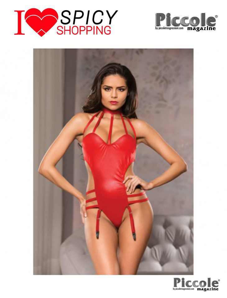 Body Halter Neck Teddy Rosso Allure o Body Rosso Halter Neck Teddy Allure