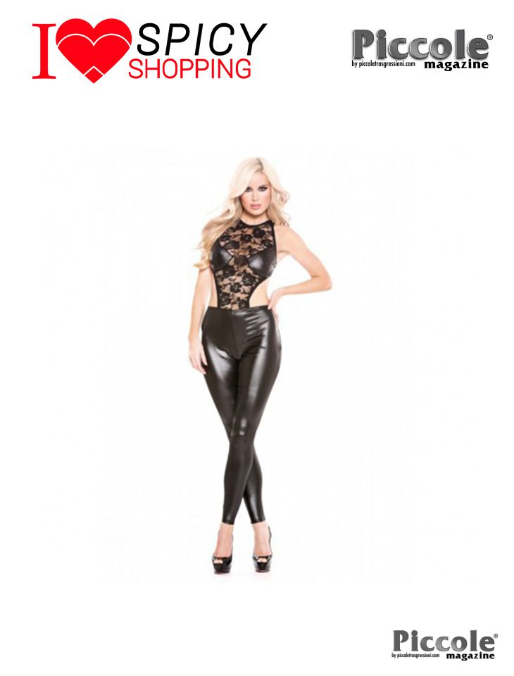 Catsuit nero Pizzo Lace E Wet Look – Allure