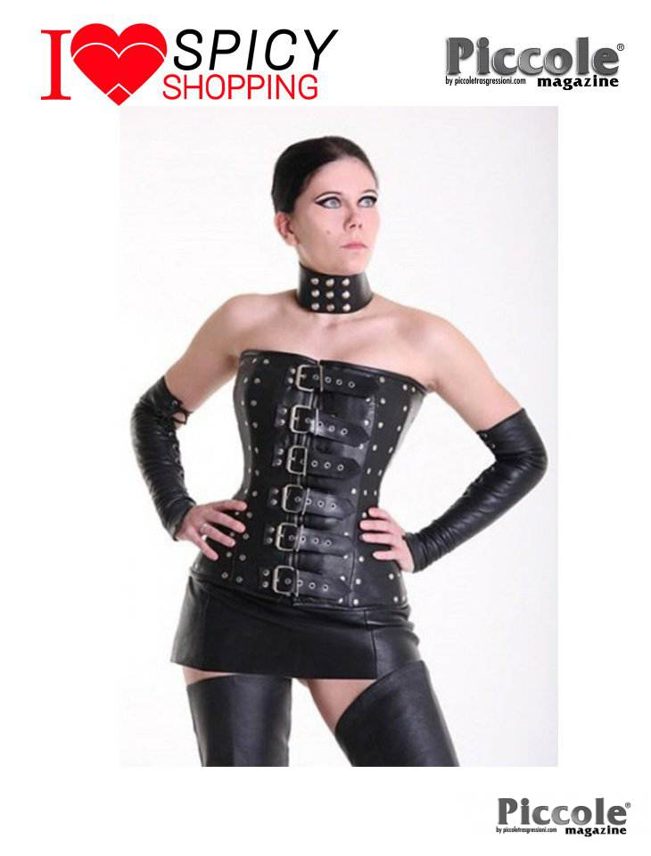 Corsetto pelle borchie nero Your Fetish World