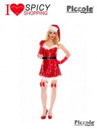 Costume Di Natale Rosso Con Paillettes Sexy Miss Santa