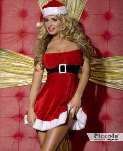 Costume di Natale rosso in velluto
