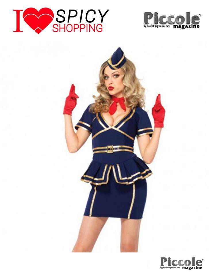 Costume Sexy Di Carnevale Friendly Skies Flight Attendant Blu