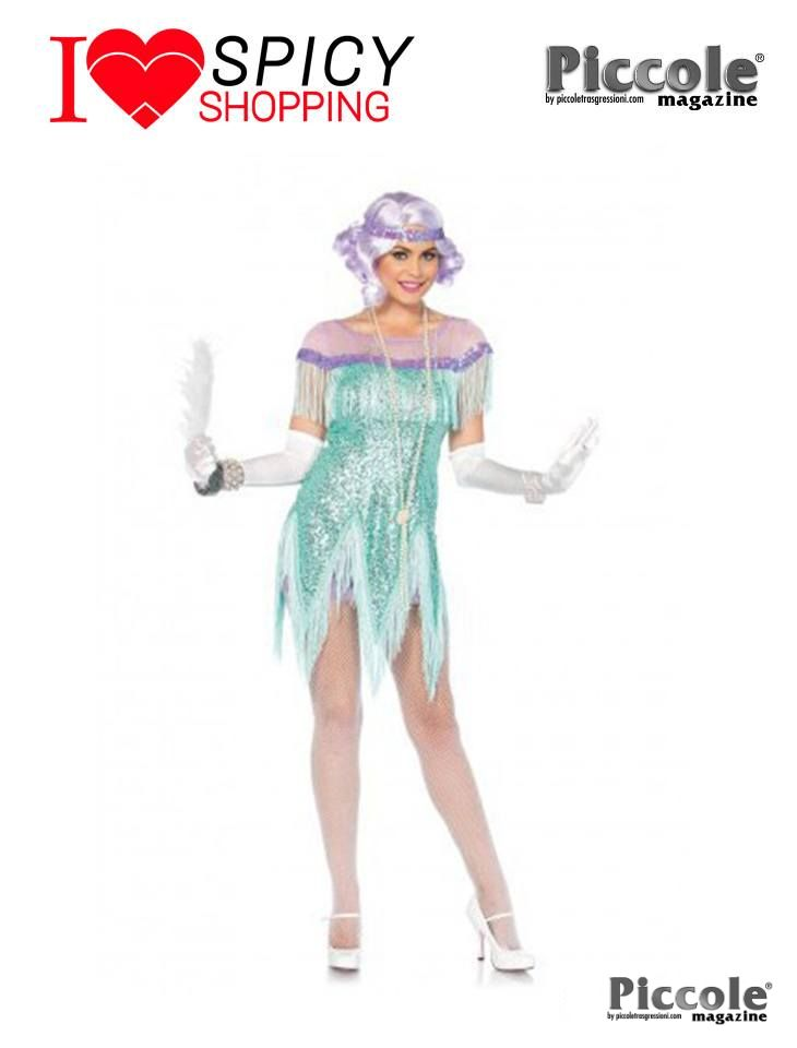 Costume Sexy Di Carnevale Foxtrot Flirt Verde - Leg Avenue