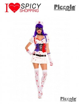 Costume Sexy Di Carnevale Hot Mess Harley Nurse White - Music Legs