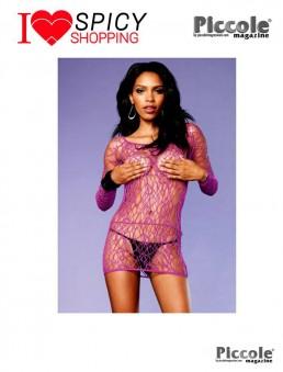 Mini abito rete viola long sleeve Leg Avenue