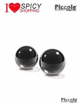 GLASS BEN WA BALLS MEDIUM BLACK - PIPEDREAM