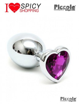 PLUG SMALL WITH HEART SHAPED CRYSTAL PURPLE - RIMBA