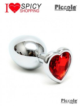 PLUG SMALL WITH HEART SHAPED CRYSTAL RED - RIMBA