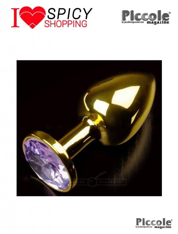 PLUG ANALE METALLO – JEWELLERY GOLD – SMALL PURPLE – DOLCE PICCANTE