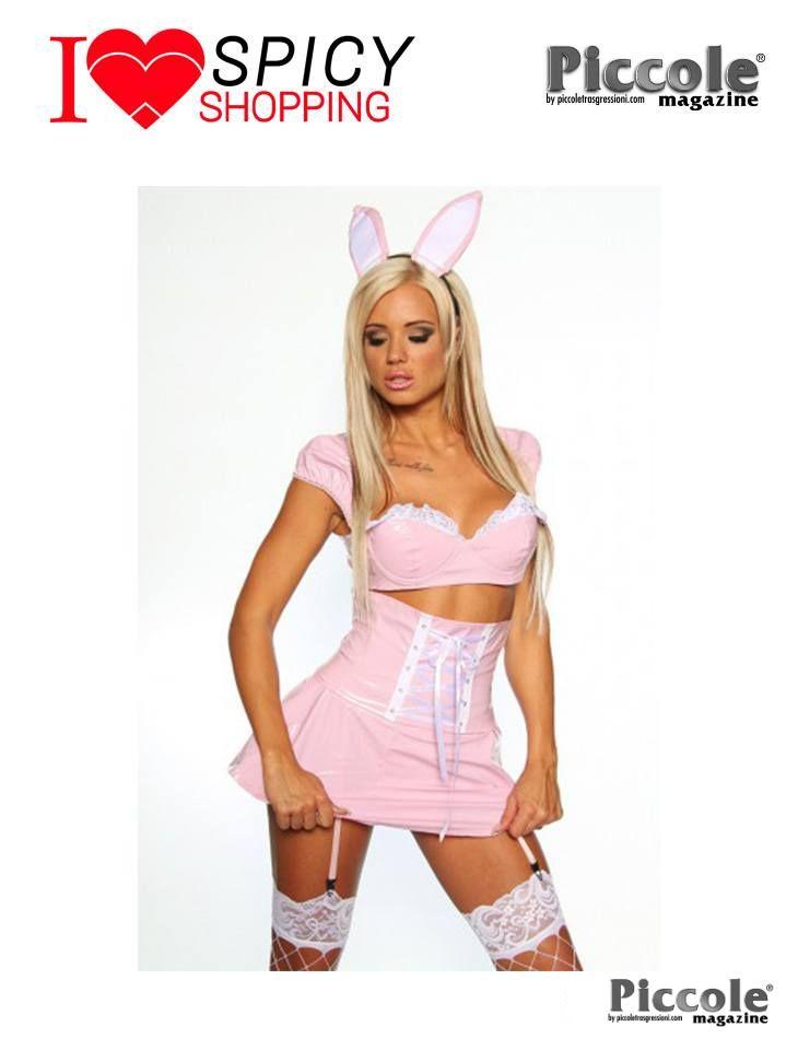 Set Costume da Coniglietta 5 Pezzi In Vinile Rosa - Selecta Fashion