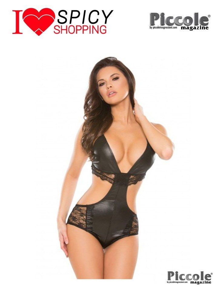 SEXY LINGERIE - DREAMAWAY WETLOOK TEDDY BLACK – ALLURE