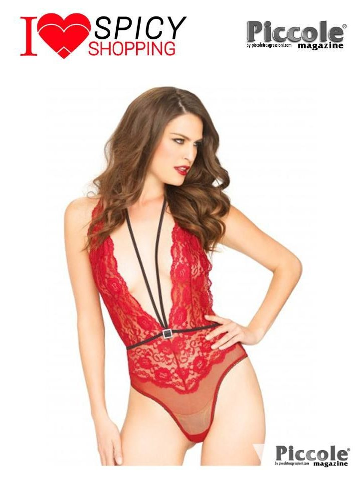FLORAL LACE DEEP V TEDDY RED - LEG AVENUE